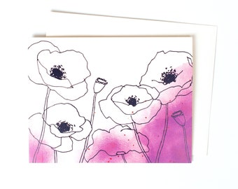 Pretty Thank You Note, Single Watercolor Poppies Greeting Card in Beet, Purple Magenta Watercolor Flowers