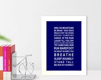 A5 unframed wall art print Sing on Mountains typography bus roll