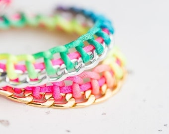 Rainbow Chain Braided Bracelet lgbt Neon Colorful Modern silver gold chain minimalist jewelry fashion