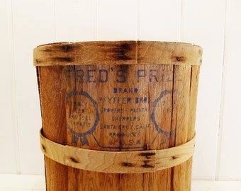 Vintage Split Wood Basket Fred's Pride Brand Brussel Sprouts