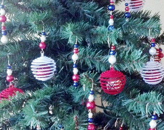 Patriotic Beaded Ornament Hanger Hooks - Red White and Blue - FREE SHIPPING