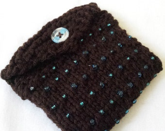 Beaded Mini Purse/ Hand Knit Dark Brown With Blue Beads And Fabric Lined Knitted Wallet/ Business Cards,Credit Cards, Or Gift Card Holder