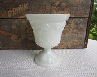 Vintage Milk Glass Pedestal Vase Ornate E. O. Brody