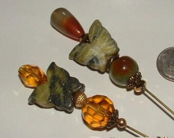 HATPINS- my own design - no copy- springtime butterfly serpentine gemstones- crystals amber