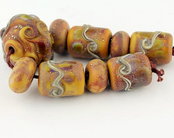 Lampwork Glass Bead Set  Etched Rustic Organic - Brown Silver Jewelry Supply 'Canyon Sun'