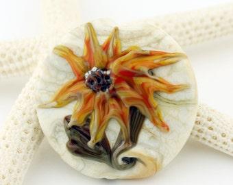 Lampwork Glass Bead, Sunflower Lentil Focal, Jewelry Supplies, SRA, 'Summer Garden'
