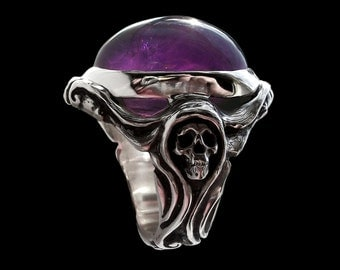 Sterling Silver Art Nouveau Engagement Skull Ring with amethyst - Lady Morte ring - ALL Sizes