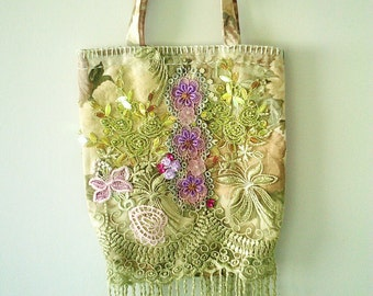 handmade purse, lace handbag, lace bag, green lace purse, WORK OF ART, repurposed bag, hippy gypsy bag