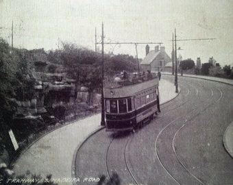vintage tram postcard, electric tram, vintage tram card, antique postcard, early tram card,