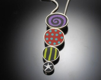 Sterling silver, polymer necklace #38