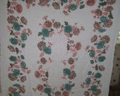 1950s PRINT KITCHEN TABLECLOTH - Pastel Asters