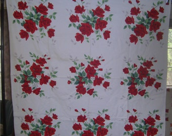 1950s Print Kitchen Table Cloth - Ruby Roses