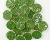 25 CLOVER GREEN CIRCLE 1 inch Tiles - High Fired -Textured