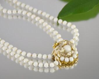 White Milk Glass Necklace Choker Multi Strand Gold Flower Rhinestone Vintage  - W3369