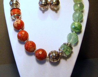 Chunky Gemstone Necklace and Earring Set - Arizona bound