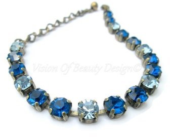 Capri Blue and Sapphire Bracelet Brass Ox  - Spring Collection - by Vision of Beauty Design