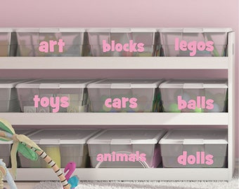 Playroom Toy Bin Decals - Playroom Decals- Bin Labels - Organization - Toy Bin Labels- Toy Bin Decal - Wall Decals- Playroom Toys - H30