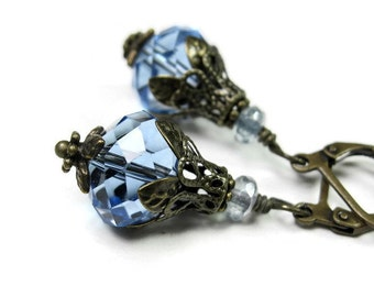 Vintage Style Earrings, Light Sapphire Blue Czech Glass Dangle Earrings, Blue Sparkling Earrings, Anniversary Gift Ideas, Formal Wear
