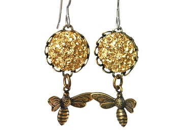 Bee and Faux Druzy Earrings, Faux Gold Drusy Dangles on Titanium Wires with Brass Bees, Myths and Meadows Collection