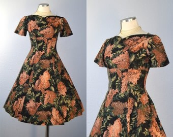 ON HOLD / Not for Sale / Peach Blossom dress / vintage 1950s dress / 50s cotton party dress / glitter / mauve / coral