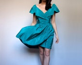 80s Teal Green Party Dress Large Collar Mini Dress Pouf Prom Dress Off the Shoulder V Neck Dress - Small S