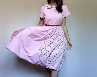 Pink Gingham Dress Novelty Print Bunny Rabbit Easter Pouf Dress Short Sleeve 80s Pastel Dress Kitsch - Small Medium S M