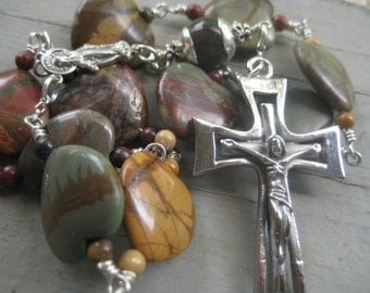 UNUSUAL Heart Shaped Picasso Jasper Gemstone Linked Chaplet Fine Heirloom  Quality  with Stainless Crucifix and all SOLID Sterling Silver