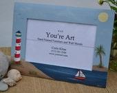 Hand Painted Lighthouse Frame/ Coastal Living/ Beach frame/ Ocean Frame