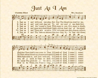 JUST AS I Am 8x10 Antique Hymn Art Print Natural Parchment Sepia Brown Ink Vintage Verses Sheet Music Crusade Song Come As You Are To Jesus