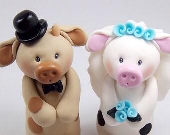 Cow Cake Topper, Wedding Cake Topper, Bull Figurine, Bull and Cow