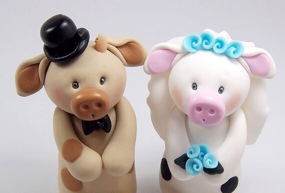 Cow Cake Topper, Wedding Cake Topper, Bull Figurine, Bull and Cow