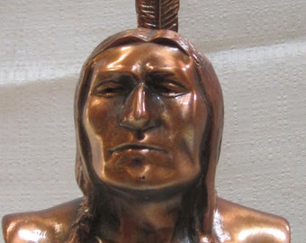 American Indian figure bank copper metal made in the USA