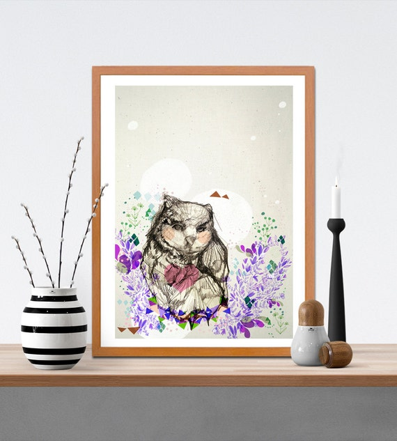 The Little Owl Fine Art Print - Bird- Owl Artwork - Gift for Owl Lovers - Birthday Gift - Gift for Children- Gift for Young Teens- A4 A3