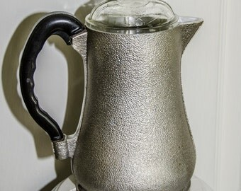 Vintage 1950s Guardian Aluminum and Glass Coffee Pot Server