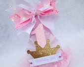 Light Pink and Gold Princess Birthday Party Hat with gold glitter crown