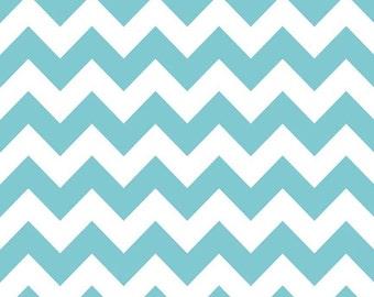 Aqua Medium Chevron Fabric by Riley Blake Designs - Half Yard - 1/2 Yard - Zig Zags - Aqua Chevron