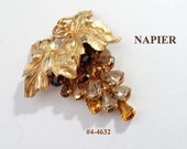 FREE SHIP Signed Napier Grapes Brooch (4-4632)
