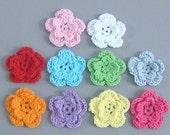 40 Handmade Crochet Flower Appliques Sewing EA161