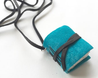 Tiny Journal Necklace in Teal Blue. Suede Leather Sketchbook Pendant Mini Book Jewelry Gifts for Her Him Under 25 Aqua Book Lovers Necklace