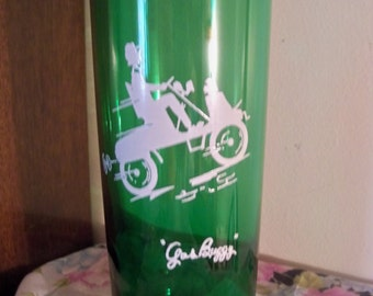 tall green glass gas buggy fun  drinking glass or vase