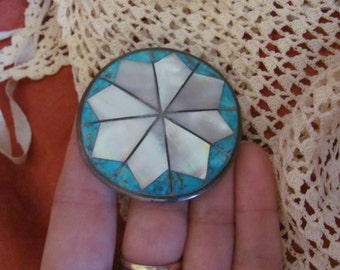 Lovely Sterling Silver Inlaid Turquoise Shell Vintage Lapel Brooch Pin