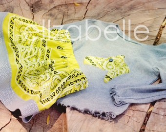 Lime Chartreuse Green Bandana Skirt Set CUSTOM Size 12m, 2, 3, 4, 5, 6 with Applique of Horse Head, Cowboy Boot, or Western Star Shirt