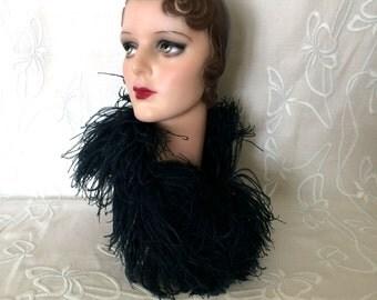 Vintage 1930's Midnight Blue Marabou Ostrich Feather Collar
