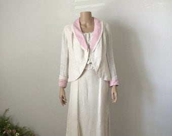 Vintage Petal Pink and Cream Edwardian Linen Walking Jacket...Downton Abbey