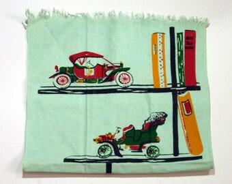 Vintage Printed Tea Towel, Antique Auto, Books, Cannon Kitchen Towel
