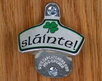 "Irish Father's Dat Gift - Wall Mount Bottle Opener - Irish Shamrock, ""Slainte"" - Bottle Cap Catcher - Irish Gift for Dad"