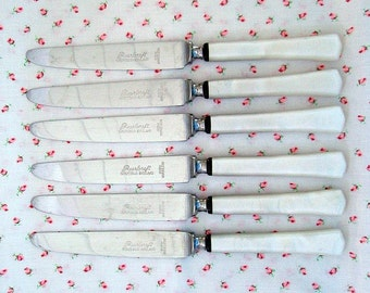 Set of 6 Vintage Pearlcraft Sheffield England Knives Elegant Faux Pearl Seaside Charm 1970s