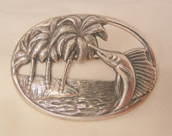 Sterling tropical tourist theme swordfish Water Palm Tree Brooch