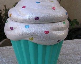 Rainbow Turquoise Love Cupcake Jar
