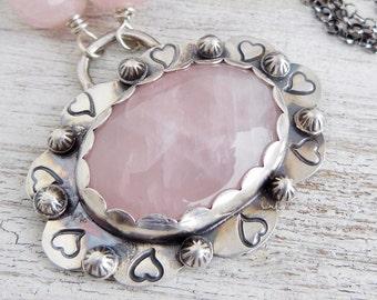 Rose Quartz Necklace, Pink Stone - Gemstone Necklace - Statement Pendant - Gift for Women